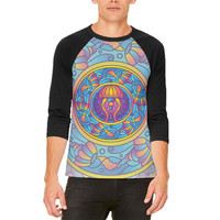 Mandala Trippy Stained Glass Jellyfish Mens Raglan T Shirt