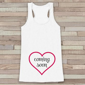 Pregnancy Announcement Tank - Pregnancy Shirt - Baby Girl Coming Soon Tank - White Tank Top - Pregnancy Announcement Shirt - New Mom