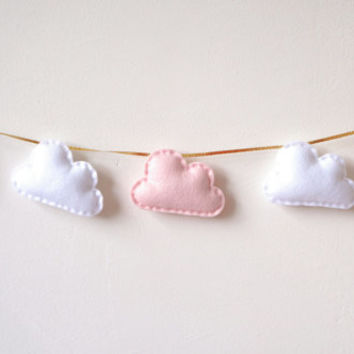 Cloud Garland, Cloud Bunting, Cloud Banner, white and pink clouds, gold ribbon, nursery decoration, baby shower gift, new baby, baby gift