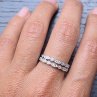 2pc Wedding Bands 24 Stones 925 Sterling Silver Cubic Zirconia Ring