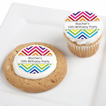 Chevron Rainbow - Personalized Birthday Party Edible Cupcake Toppers - 12 ct