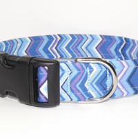 Chevron Dog Collar Blue Purple