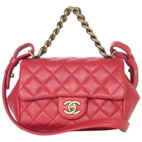 Chanel Red Quilted Leather Crossbody Flap Bag w/ Top Handle