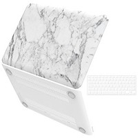 "iBenzer Basic Soft-Touch Series Plastic Hard Case & Keyboard Cover for Apple Old Macbook Pro 13-inch 13"" with CD-ROM A1278 (White Marble)"