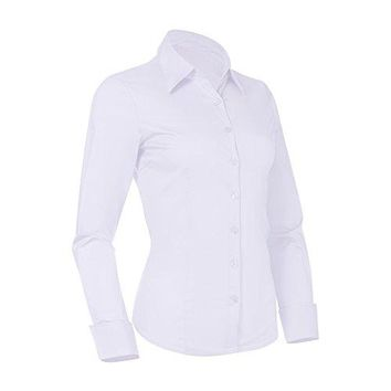 Pier 17 Button Down Shirts for Women Fitted Long Sleeve Tailored Shirt Blouse