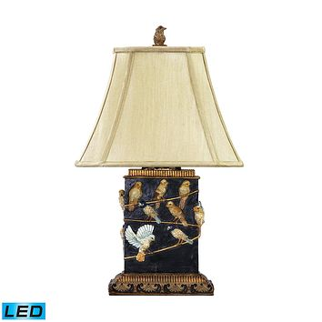 Birds On Branch LED Table Lamp in Black