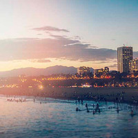 Santa Monica Beach Photography Sunset Glow Los Angeles California Ocean Surf Blur Bokeh West Coast Blue