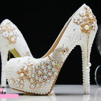 Milanblocks Handmade Bead Wedding Peacock Heels Leather Bridal Occasions Pumps Shoes