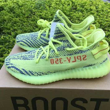 Kanye West X Adidas Yeezy 350 V2 Boost Semi Frozen Yellow Sport Shoes Running Shoes B37572