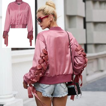 Pink and Chic Satin Lace Up Sleeve Bomber Jacket