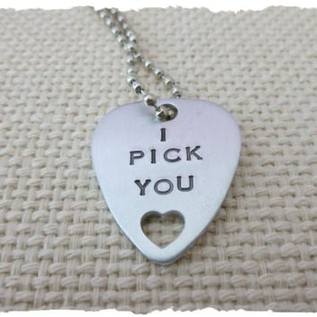 I pick you Hand Stamped Guitar Pick anniversary wedding engagement Gift musician heart love anniversary gift for her girlfriend wife