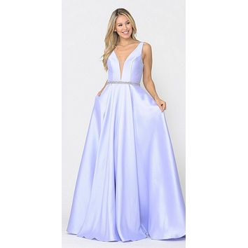 V-Neck and Back Lilac Long Prom Dress with Pockets