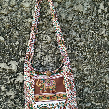 Small Elephants Crossbody bag, Shoulder hobo Tote Sling Festival fashion Gypsy Hippy Hippies Peacocks print Yam Diaper Tribal White brown