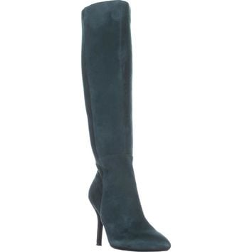 Nine West Fallon Knee-High Heeled Boots, Dark Green/Dark Green Suede, 5 US