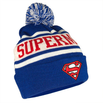 Superman - Shield Stripe Pom Pom Knit Hat