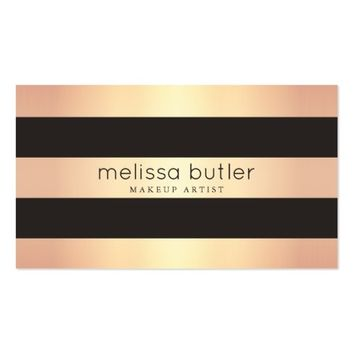 Chic Rose Gold and Black Stripes Appointment Business Card