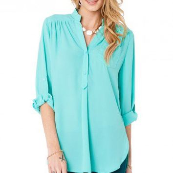 Pure Colora Blouse in Mint - ShopSosie.com