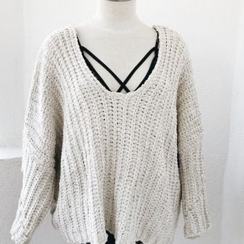 OVERSIZE OFF SHOULDER CHENILLE SWEATER- OFF WHT