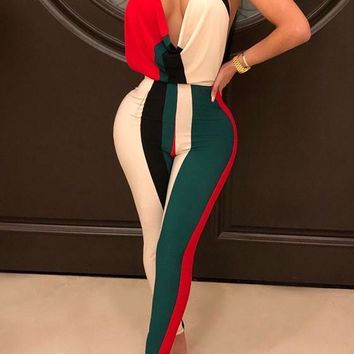Red Striped Halter Neck Backless Bodycon Deep V-neck Clubwear Party Long Jumpsuit