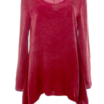 DejaVu Mineral Washed Broadcloth Top with Angular Hemline