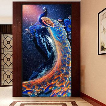 New 5D DIY Round Diamond Embroidery Peacock Painting Cross Stitch Home Decoration 30*56cm