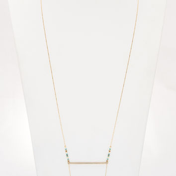 Cross Bar Necklace - Gold & Turquoise