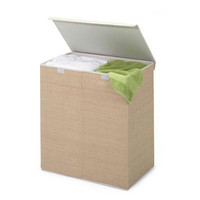 Double Hamper Wcover Natural