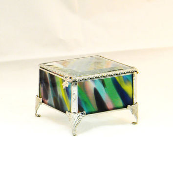 OOAK Stained Glass Jewelry Box, Keepsake Box,  Colbalt Blue, Raspberry and Lime Green, 3 x 3""