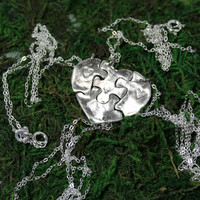 Silver Heart Shaped Puzzle Set of 4 necklaces Best Friend Bridesmaid Jewelry Set 280