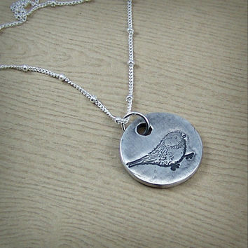 Chickadee Bird Necklace - Songbird Pendant - Fine Silver Bird Jewelry - Sterling Silver - Mother Bird Necklace - Mother's Day Gift for Mom