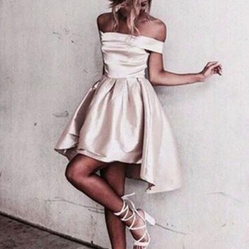 Creamy White Off Shoulder Homecoming Dress