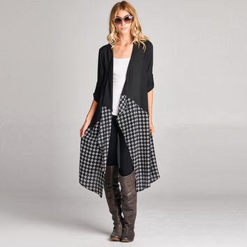 Contrast Checkered Cardigan
