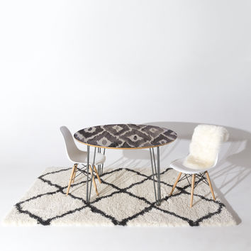 Natalie Baca Painterly Ikat in Black Round Table