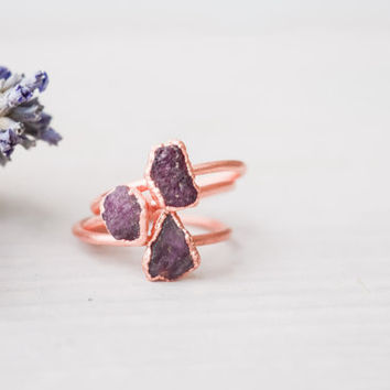 Ruby ring - Rough Ruby ring - Raw Ruby ring - Natural Ruby ring - Birthstone ring - Crystal ring - Real Ruby ring - Raw Stone ring