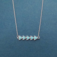 Turquoise, Arrow, Silver, Ncklace, Modern, Triangle, Necklace, Birthday, Best friends, Mom, Sister, Gift, Jewelry