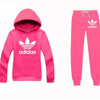 ADIDAS Casual Print Hoodie Top Sweater Pants Trousers Set Two-piece Sportswear woman