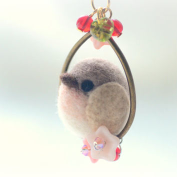 Handmade robin bird necklace, needle felted robin bird necklace, soft sculpture wool bird on flower hoop, whimsical jewelry, gift under 25