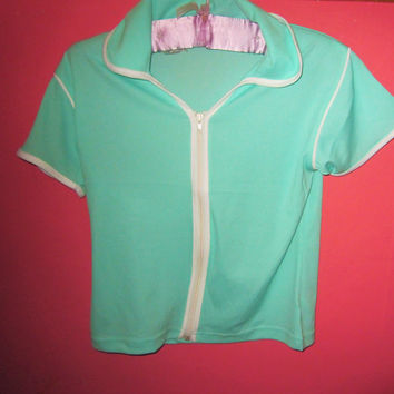 SALE Vintage 90s Zipper Tee Top Mint Green Zip Up Grunge Sea Punk Club Kid Clueless Spice Girls Size Small / Medium Uk 8 UK 10 UK 12