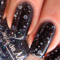 """Nail polish - """"Insomnia"""" white, silver holo and iridescent glitter in a black jelly base - new 12ml bottle"""