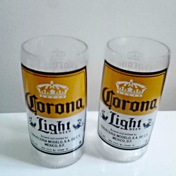 Handcrafted Upcycled Corona Light Beer Bottle Drinking Glass Set