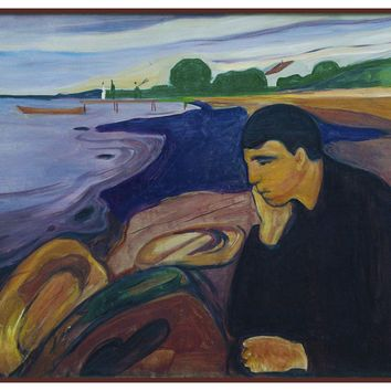 Melancholy Man at The Shore by Symbolist Artist Edvard Munch Counted Cross Stitch or Counted Needlepoint Pattern