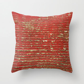 Chipped Red Painted Wood - Chippy - Shabby - Throw Pillow Cover
