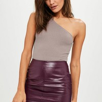 Missguided - Mauve One Shoulder Knitted Bodysuit