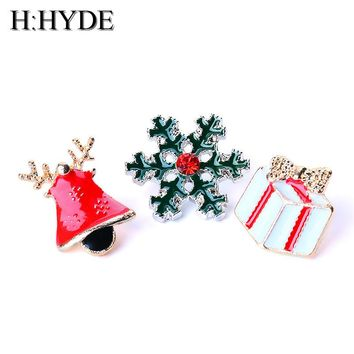 H:HYDE Fashion 2017 Christmas Gifts Pins And Brooches For Women 3pcs/set Small Bell Snowflake Rhinestone Brooch Female Bijoux
