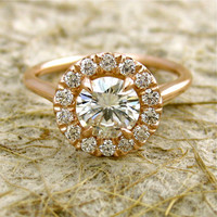 14k Rose Gold Moissanite Diamond Engagement Ring
