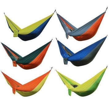 ICIK7N3 Portable Outdoor Hammock 2 Person Camping Hiking Travel Kits Garden Leisure Hammock 6 Colors Parachute Hammocks