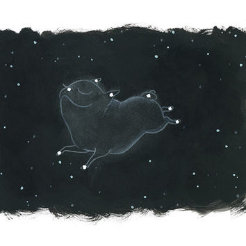 Canis Major - Pug in the Stars Constellation Art - Night Sky Pug Art from an original painting by InkPug!
