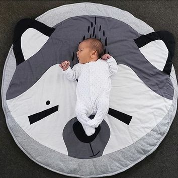 93cm Animals Fox Baby Quilted Round Play Mats Children Developing Blankets Crawling Rug Carpet For Kids Room Decoration