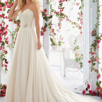 Voyage by Mori Lee 6818 Beaded Lace Bodice and Tulle Skirt A-Line Wedding Dress