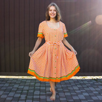 Soviet Apple Dress / Striped Orange Vintage Woven Summer Dress: Shot Sleeves, Full Skirt, Colorblock Stripe, Apple Buttons, 80s Size MEDIUM